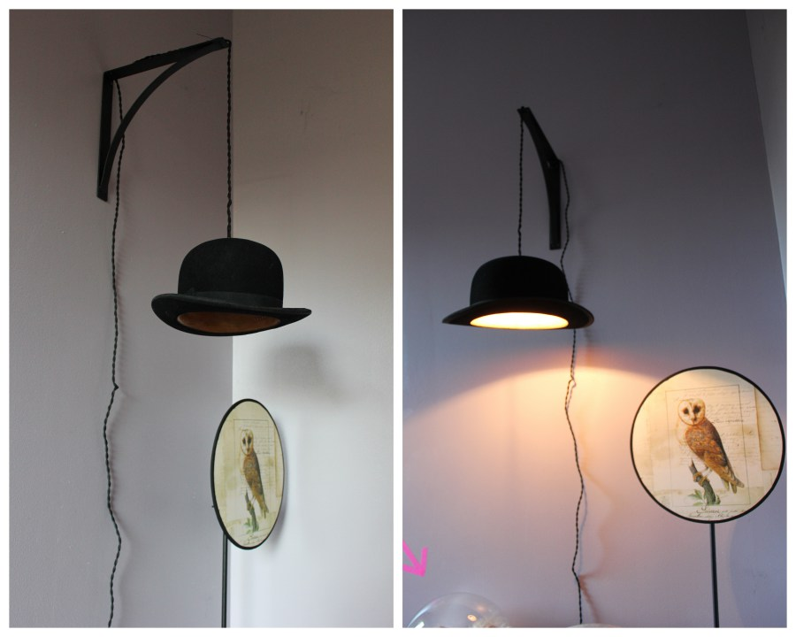 diy cr er une lampe led originale avec un chapeau melon jps services. Black Bedroom Furniture Sets. Home Design Ideas